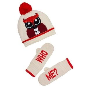 NEW Kate Spade XS Girls 4/6 Hat Mitten Set Owl